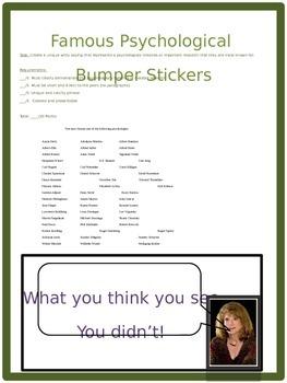 Psychology Famous Psychologists Bumper Sticker Activity