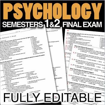 Psychology Final Exams - Semester 1 & 2 (Over 330 Editable