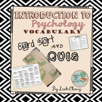 Psychology Introduction Vocabulary Card Sort and Quiz