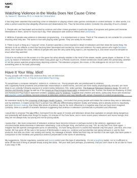 Psychology - Media Violence: Pro/Con Arguments w/ response essay