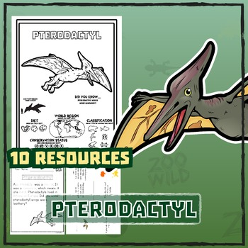 Pterodactyl -- 10 Resources -- Coloring Pages, Reading & A
