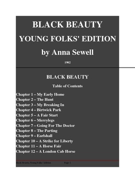Public Domain Short Story, Black Beauty, Young Folks' Edit