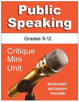 Public Speaking Critique Mini Unit