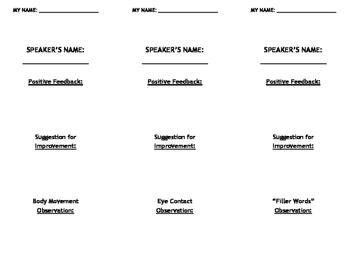 Public Speaking Peer Evaluation Forms