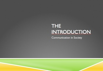 Public Speaking - Writing an Introduction