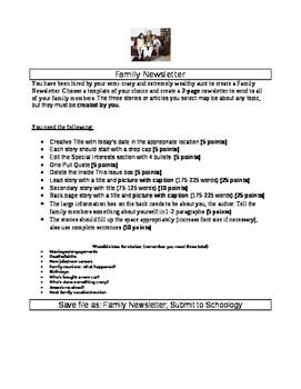 """Publisher Newsletter Project """"Family Newsletter"""""""