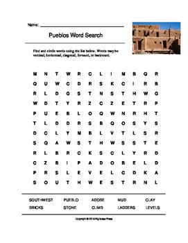 Pueblos Word Search (Grades 3-5)
