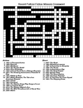 Pulitzer Prize Fiction Winners Crossword & Word Search with KEYS