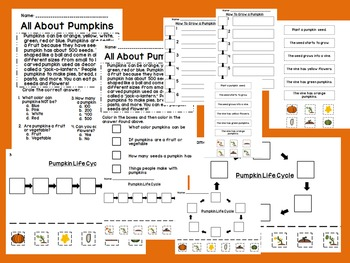 Pumpkin Activities Including Life Cycle, Sequencing, and H
