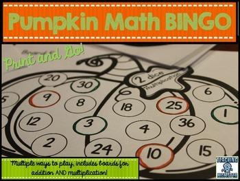 Pumpkin BINGO game--addition and multiplication
