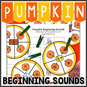 Pumpkin Beginning Sound Center, Kindergarten Pumpkin Clip Cards