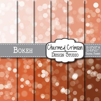 Pumpkin Bokeh Digital Paper 1354
