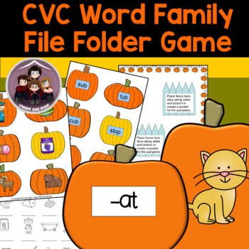 Pumpkin CVC Word Families File Folder Game