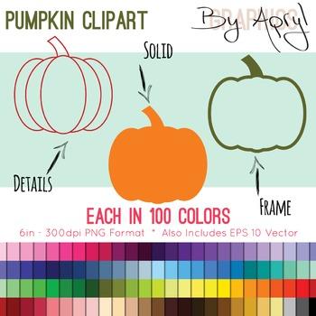 Pumpkin Clip Art Pumpkin Frame in 100 Colors PNG and Vecto