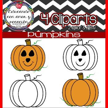 Pumpkin Cliparts Color & BW