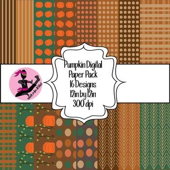 Pumpkin Digital Paper- 16 Designs- 12 by 12- 300 dpi
