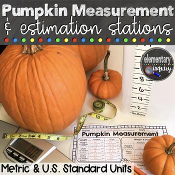 Pumpkins Estimation and Measurement Fall Math Stations Hal