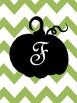 Pumpkin Fall Initial Print Green Chevron - Letters A - X,