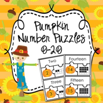 Pumpkin Fall Number Puzzles  0-20 ( Number Name ,  Number