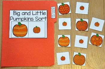 """Pumpkins File Folder Game:  """"Big and Little Pumpkins Sort"""""""