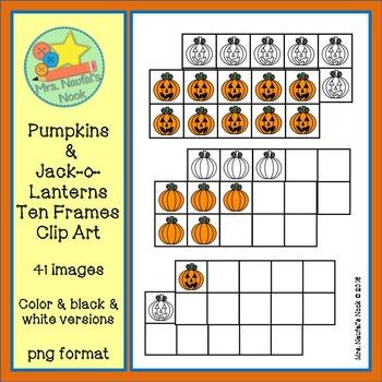 Pumpkin & Jack-o-Lantern Ten Frames Clip Art