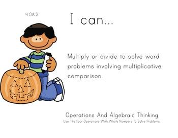Pumpkin Kids Theme 4th grade math Common Core Posters four