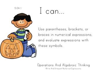 Pumpkin Kids Theme 5th grade math Common Core Posters Fift