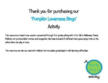 Pumpkin Lowercase Bingo