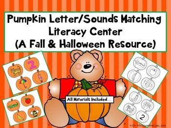 Pumpkin Matching Letter/Sounds Literacy Center (A Fall & H