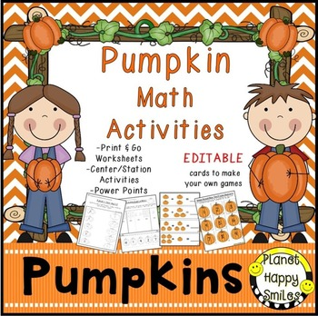 Pumpkin Activities ~ Math Worksheets, Station/Center Activities, Planet Happy Smiles