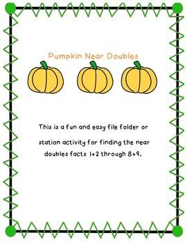 Pumpkin Near Doubles (Doubles Plus One) Math Station/Fact