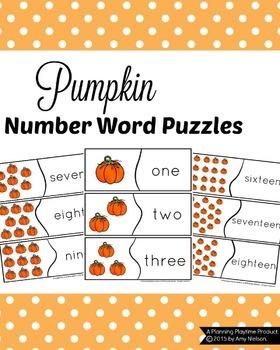 Pumpkin Number Word Puzzles