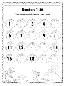 Pumpkin Numbers 1-20 Fill-in-the-blank FREEBIE