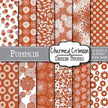 Pumpkin Orange Floral Digital Paper 1482