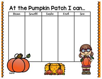 Pumpkin Patch 5 Senses Graphic Organizer