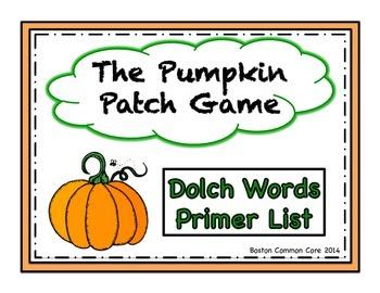 Pumpkin Patch Game Dolch Words Primer List