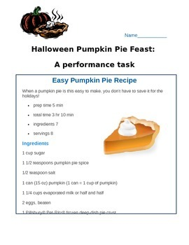 Pumpkin Pie Feast: A Thanksgiving Conversions Performance Task