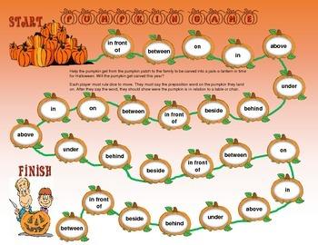 Pumpkin Prepositions Board Game