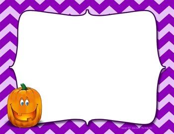 Pumpkin with Purple Chevron Digital Paper (embedded text area)