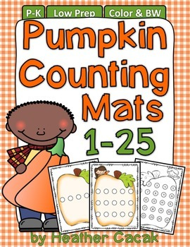 Pumpkin Seed Counting Hands-On Math Mats 1-25 Low Prep (Pr