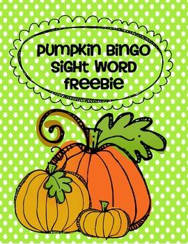 Pumpkin Sight Word Bingo