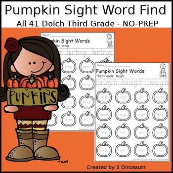 Pumpkin Sight Word Find: Third Grade