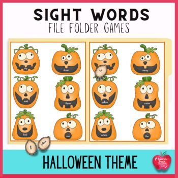 Free! Pumpkin Smiles  High Frequency Dolch Word File Folde
