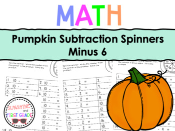 Pumpkin Subtraction Spinners Minus 6