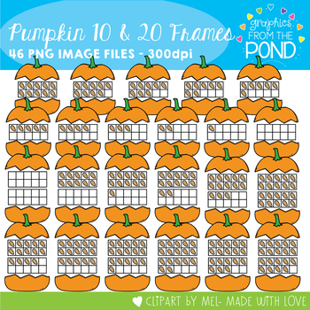 Pumpkin Ten Frames - Clipart for Teachers