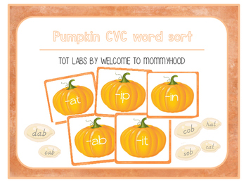 Pumpkin (Thanksgiving) CVC Word Sort for early readers