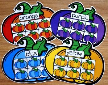 Pumpkin Themed Color Sorting Mats