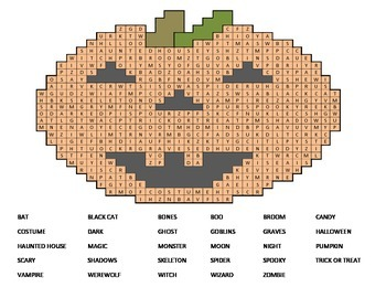 FREE! Pumpkin Word Search