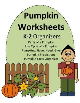 Pumpkin Worksheets K-2 (Life Cycle, Parts, and more!)
