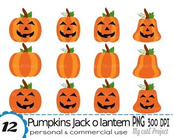 Pumpkin clipart  - Jack o lantern - Clipart Halloween - Sc